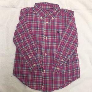 NWOT Fuchsia Plaid Ralph Lauren Button Down Shirt